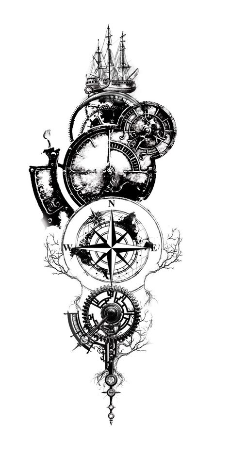 Pin by Richard Lewis on Tattoos | Compass tattoo design, Clock tattoo design, Compass tattoo