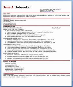 Babysitter resume example resume downloads for Babysitting resume examples