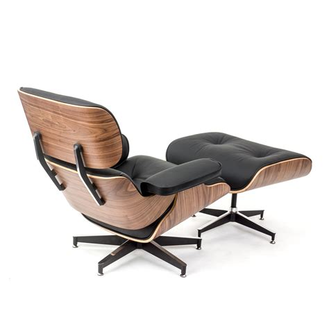 rosewood lounge chair and ottoman black leather replica