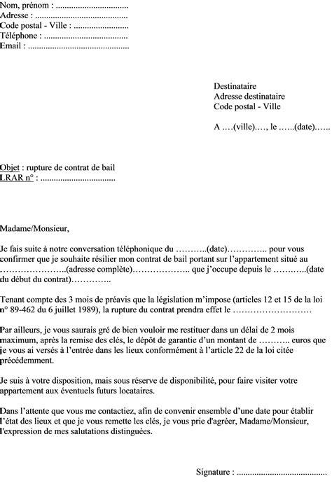 modele lettre préavis 1 mois zone tendue mod 232 le de lettre pour r 233 silier un contrat de bail locatif