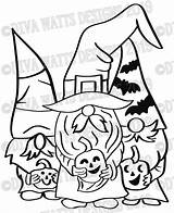 Gnome Svg Halloween Coloring Witch Crew Gnomes Layered Bats Gnomies Stencil Fall Stencils Corn Candy sketch template