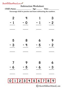 single digit simple subtraction worksheets aussie childcare network