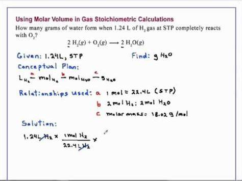 molar volume  gas stoichiometric calculations