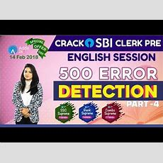 Sbi Clerk Pre 2018  500 Error Detection (part 4)  English  Online Coaching For Sbi Youtube