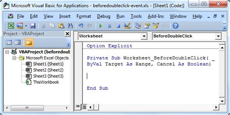 excel vba beforedoubleclick event easy excel macros