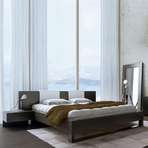 Monroe Bed + Nightstands + White Headrest Pillows  Wenge