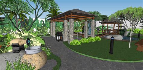 desain taman belakang  kolam renang rumah minimalis