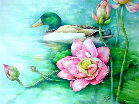 Lotus Flowers And A Duck Origianal Colored Pencil от