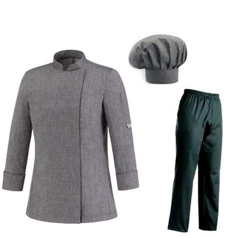 tenue de cuisine femme grise veste pantalon toque