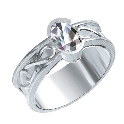 celtic engagement ring with moissanite and infinity symbol