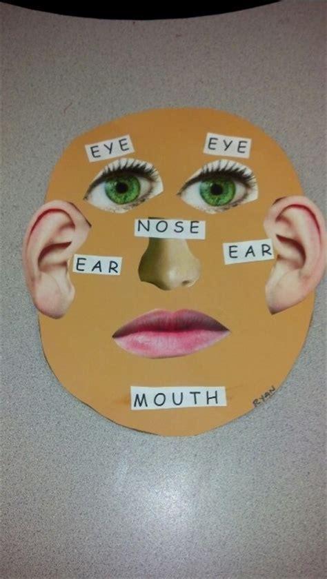 face body part labeling cut  paste activity teach