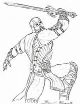 Mortal Kombat Coloring Zero Sub Pages Printable Fighting Getdrawings Getcolorings Sketch Awesome sketch template