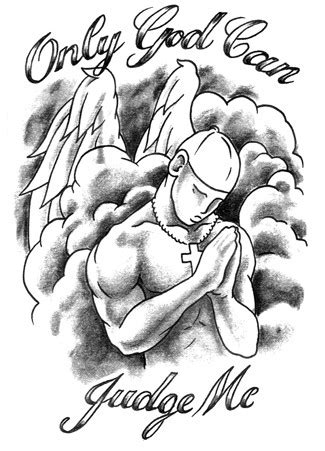 Grey-ink praying angel in clouds with double letterings