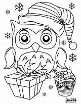 Coloring Christmas Pages Cute Owl Merry Reindeer Sleigh sketch template