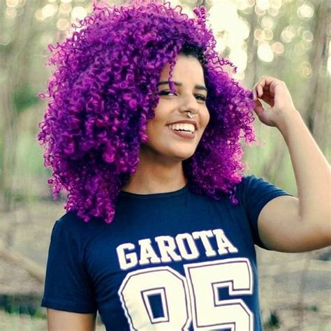Curly Purple Natural Hair With Red Lipstick Natural Hair