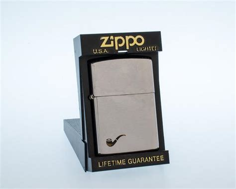 working 1993 zippo brushed chrome pipe lighter with original
