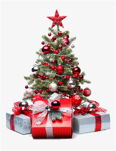 Red Christmas Tree, Gift, Five Pointed Star Png Image And