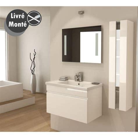 alban salle de bain compl 232 te simple vasque 80 cm blanc brillant achat vente salle de bain