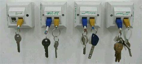 epic use of ethernet wall sockets as key holder packet pushers