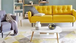 decoration salon sejour tendance 2017 With tapis jaune avec quel tissu pour recouvrir canapé