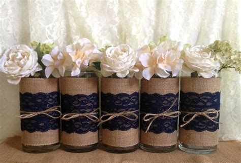 Navy Blue Flower Vases by 5 Navy Blue Burlap And Lace Rustic Glass Vases I Made This