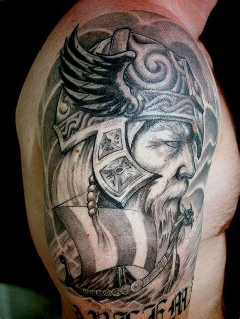 viking warrior head grey ink tattoo  shoulderjpg