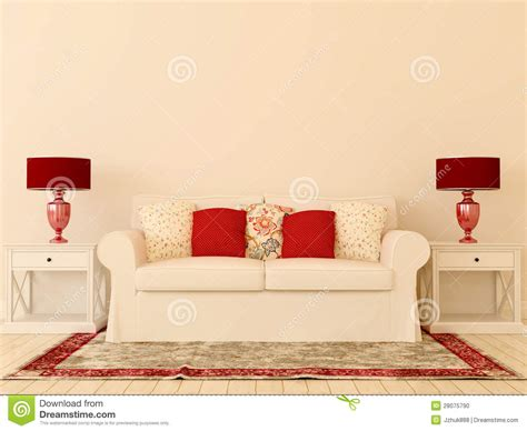 red and white sofa white sofa with red decor stock photo image 28075790