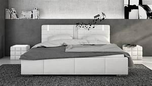 Lit 180x200 Blanc : lit design blanc avec led et haut parleurs 180x200 wouter gdegdesign ~ Teatrodelosmanantiales.com Idées de Décoration