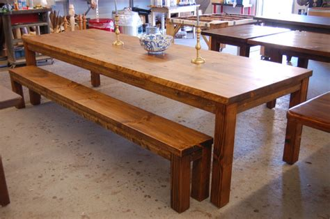 farm style table with bench large parsons style farm table with bench modern