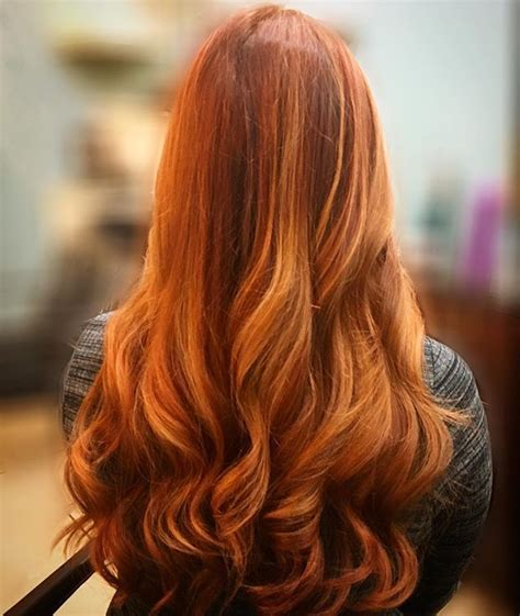 beautiful copper red balayage  copper blonde