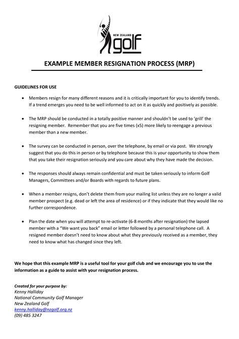 Golf Membership Resignation Letter   Templates at allbusinesstemplates.com