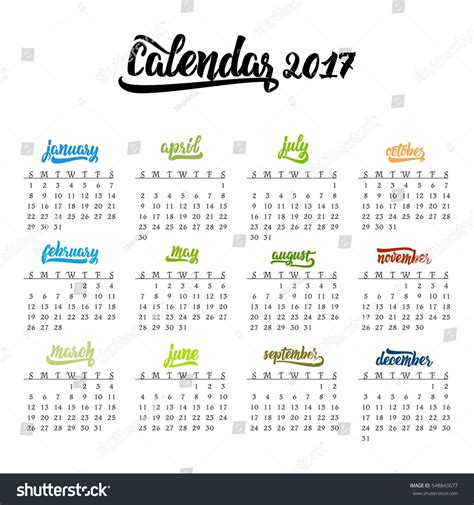 Calendar Month Template Hand by Calendar 2017 Trendy Template Handdrawn Lettering Stock