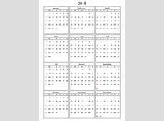 Kalendář 2018 v vector lze převést do libovolné velikosti