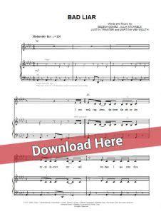 Selena Gomez - Bad Liar Sheet Music, Piano notes, Chords