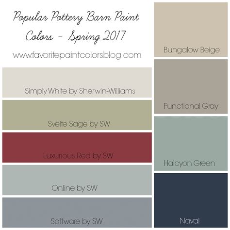 sherwin williams pottery barn colors favorite paint colors