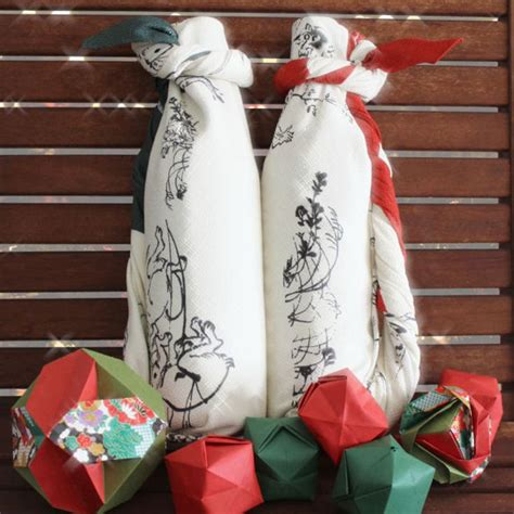 flaschen originell verpacken flaschen kreativ verpacken furoshiki verpackungsidee