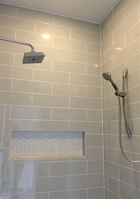 pictures of bathroom tiles ideas linear light gray shower wall tile with hexagon mosaic