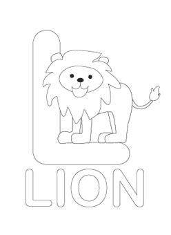 alphabet letter  coloring lion child coloring