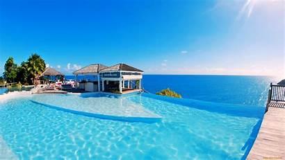 Dream Living Pool Ocean Background Resort Wallpapers
