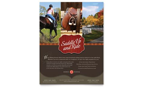 horse riding stables camp flyer template word publisher