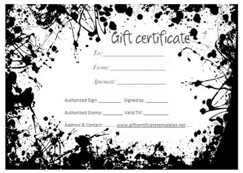black splashes gift certificate template gift