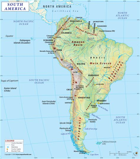 South America Map  Detailed Map Of South America & Its
