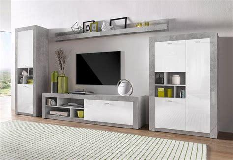 wohnzimmer weiãÿ wohnwand betonoptik bestseller shop für möbel und einrichtungen