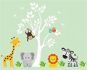tree wall decal with jungle animals by stickemupwallart With nice safari wall decals for nursery