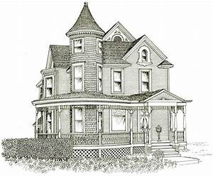 Victorian House Line Drawing Design Basic 10 On Inside ...