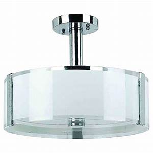 Semi flushmount with glass shade quot sinclair chrome