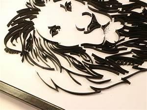 Tableau Lion Noir Et Blanc : tableau quilling t te de lion kit d 39 initiation ~ Dallasstarsshop.com Idées de Décoration