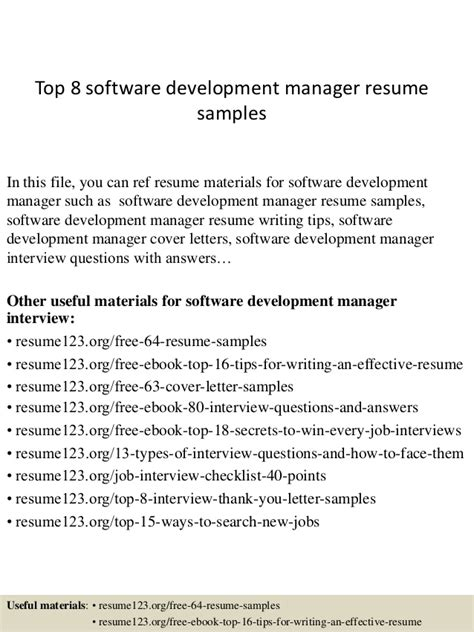 software manager resume exles top 8 software development manager resume sles