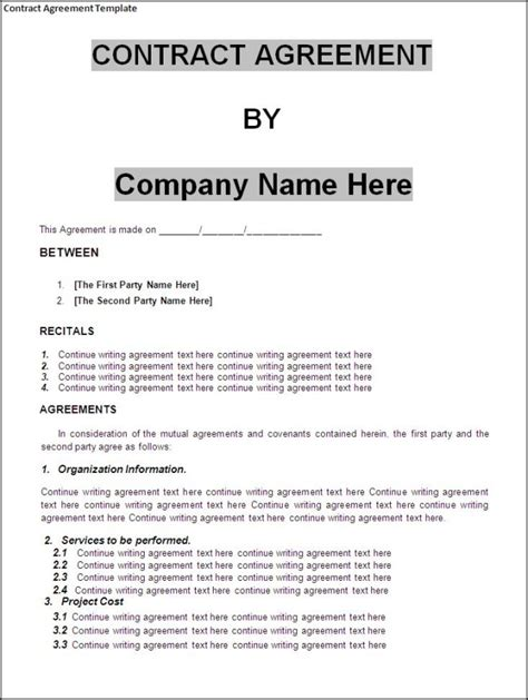 perfect agreement template examples thogati