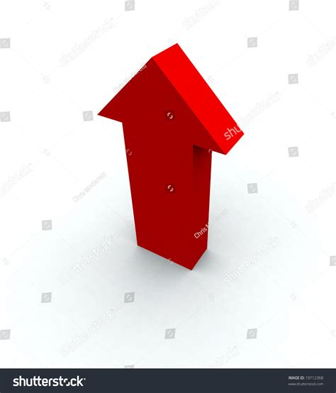 big red arrow pointing shadow stock illustration